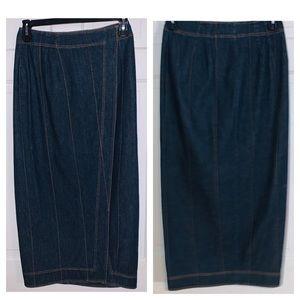 Vintage Pam Barbolejo Straight Jean Skirt w/slit 8